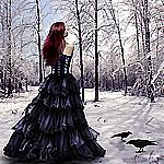 Аватар Готика, готические, темные, страшные, ужасные ворон,девушка зима