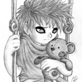 Аватар Маленький Гаара из аниме Наруто / Naruto с мишкой сидит на качелях
