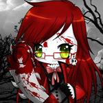 Аватар Grell из аниме Kuroshitsuji с окровавленной бензопилой