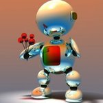 Аватар Робот с букетом цветов