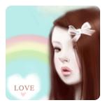 Аватар Девушка с бантиком и надпись love