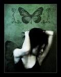 Аватар Девушка с бабочками на заднем плане