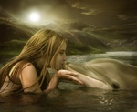 Аватар Девушка с дельфином