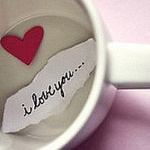 Аватар белая чашка внутри которой сердце и бумажка (I love you)