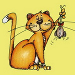 Аватар Хвастливый кот поймал игрушечную мышку