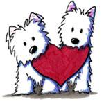 Аватар Белые щенки с сердцем в зубах