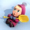 Аватар Машенька на снегу с желтой игрушечной лопаткой