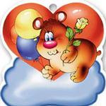 99px.ru аватар Мишка с шариками и цветочком