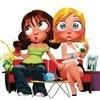 Аватар Девушки-подружки с большими глазами сидят на лавочке