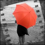 Аватар Девушка с красным зонтом смотрит на море