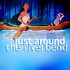 Аватар Покахонтас с енотом плывёт в лодке по реке (just around the river bend)