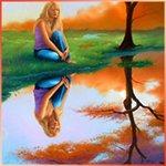 Аватар Девушка сидит на берегу озера