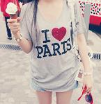Аватар Девушка в тунике с надписью 'I love Paris' / 'Я люблю Париж' держит мороженое