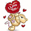 Аватар Мишка с шариком с надписью I love you