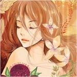 Аватар Девушка с цветами и осенними листьями в волосах
