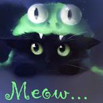 Аватар Черный котенок в прикольной шапочке (Meow / Мяу)