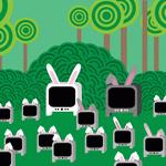 Аватар Семья телевизоров с кроличьими ушками на фоне травы