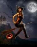 99px.ru аватар Красивая ведьма на метле в ночь Хеллоуина