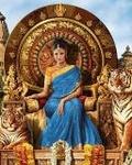 Аватар Королева сидит на троне, рядом два тигра