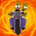 Аватар Барт и Гомер пытаются убежать от огня на мотоцикле (м/ф *Симпсоны*)