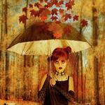 Аватар Девушка в осеннем лесу прячется под зонтом от падающих листьев