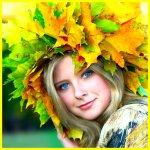 Аватар Девушка в венке из осенних листьев