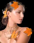 Аватар Девушка с осенними листьями и бабочками