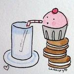 Аватар Пирожное стоит на печеньках и пьет через трубочку молоко