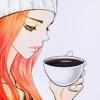 Аватар Девушка с грустным видом пьёт кофе