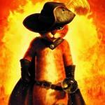 Аватар Кот в сапогах на фоне огня