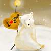 Аватар Белый полярный медведь Умка сидит на снегу ( I love you)