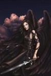 Аватар Черный ангел-девушка с мечами