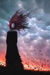 Аватар Девушка в черной одежде с развевающимися по ветру волосами