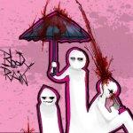 Аватар Парень простреливает себе голову, двое других прячутся под зонтиком (blood rain)