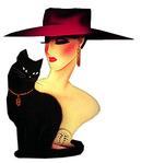 Аватар Гламурная девушка в шляпе с чёрным котом