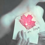Аватар Обнаженная девушка держит у груди конверт с осенним листочком (In love)