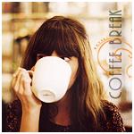 Аватар Девушка пьет кофе с большой белой кружки *coffee break / кофе-брейк*