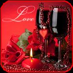 Аватар Букет красных роз, два бокала красного вина и свеча-сердечко  (Love / Любовь)