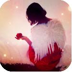 Аватар Девушка с крыльями ангела и яблоком в руках