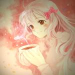 Аватар Милая анимешная девушка блондинка в пастельных тонах с чашечкой горячего чая в руках