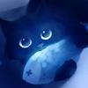 Аватар Черный котик держит в лапках рыбку