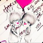 Аватар Дети с воздушным шариком на фоне слов о любви