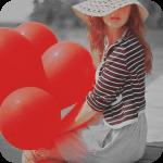 Аватар Сидящая девушка в шляпе и с красными шарами
