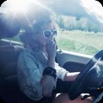 Фото на машине в очка девушки