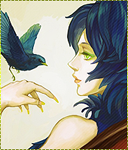 Аватар Птица садится на руку девушке