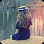 Аватар Девушка в соломенной шляпке сидит на берегу  озера
