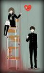 Аватар Аниме-девушка, сидящая на стульях, и парень, стоящий внизу с шариком