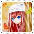 Аватар Вокалоид Мегурине Лука / Vocaloid Megurine Luka выглядывает из-за дерева, рядом летают бабочки
