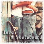 99px.ru аватар Влюбленные обнимаются рядом со стоящим скейтбордом (love & skateboard / любовь и скейтборд)