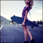 Аватар Девушка стоит на дороге и держит скейт (finally free)